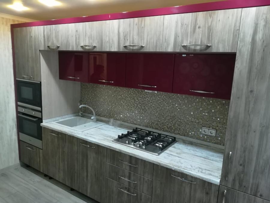 маленькая прямая  темная кухня из ЛДСП 378