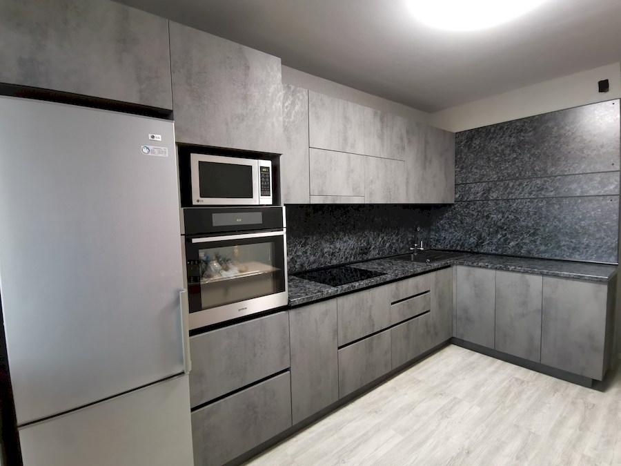 Угловая темная кухня МДФ в ПВХ 575