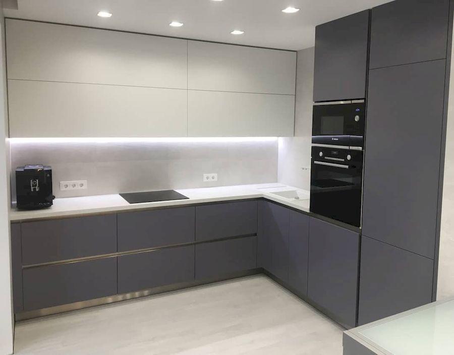 Угловая светлая кухня МДФ в ПВХ 648