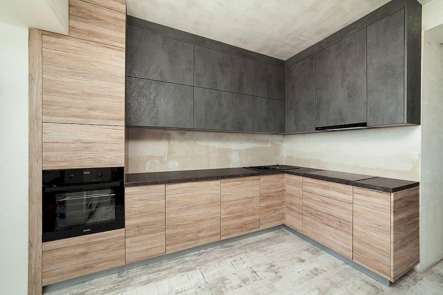 Угловая темная кухня из ЛДСП 643