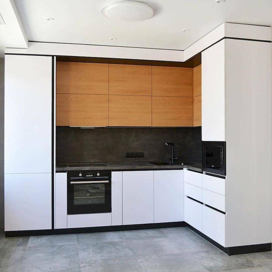 Угловая светлая кухня МДФ в эмали 645